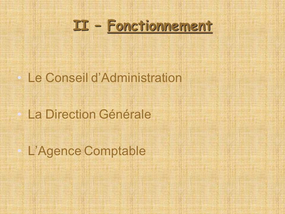 II – Fonctionnement Le Conseil dAdministration La Direction Générale LAgence Comptable