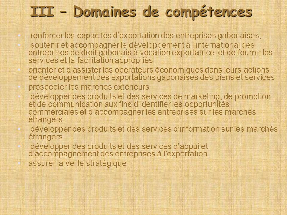 III – Domaines de compétences renforcer les capacités dexportation des entreprises gabonaises, soutenir et accompagner le développement à linternation