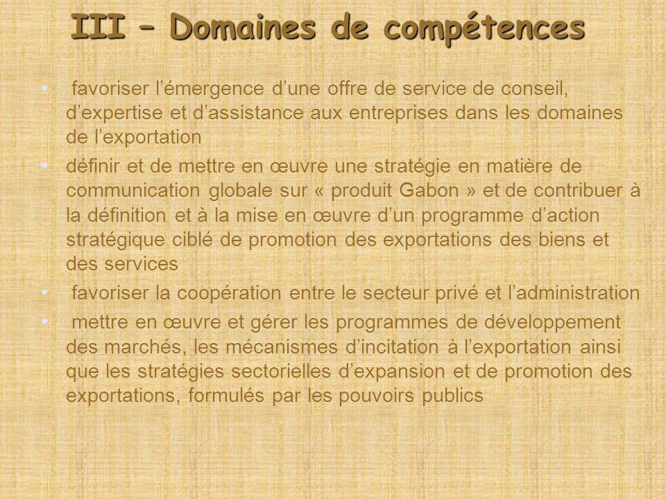 III – Domaines de compétences favoriser lémergence dune offre de service de conseil, dexpertise et dassistance aux entreprises dans les domaines de le