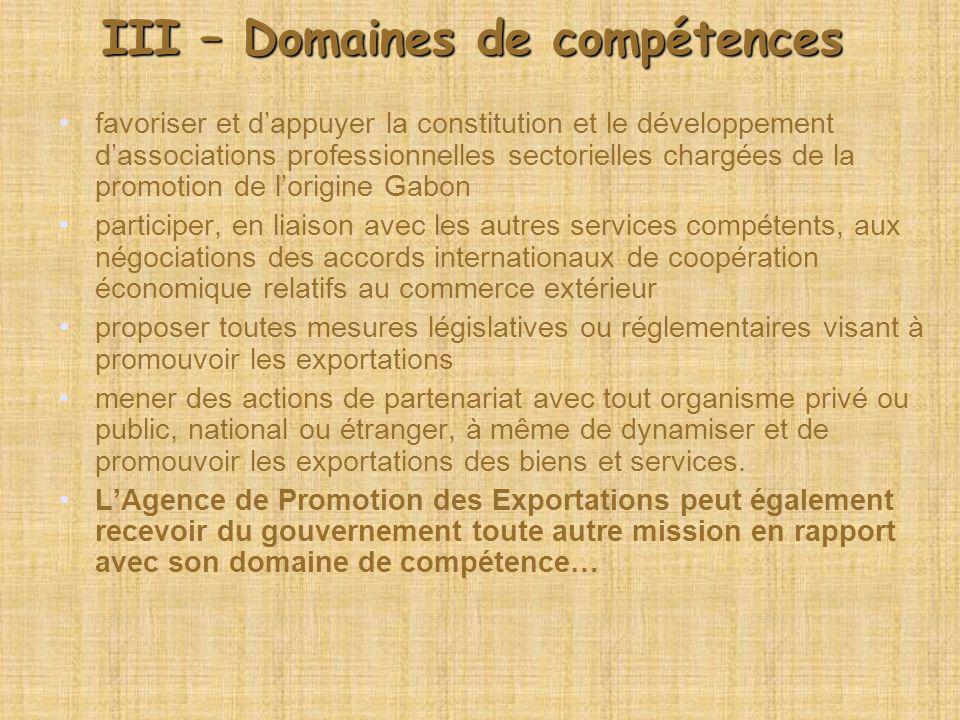 III – Domaines de compétences favoriser et dappuyer la constitution et le développement dassociations professionnelles sectorielles chargées de la pro