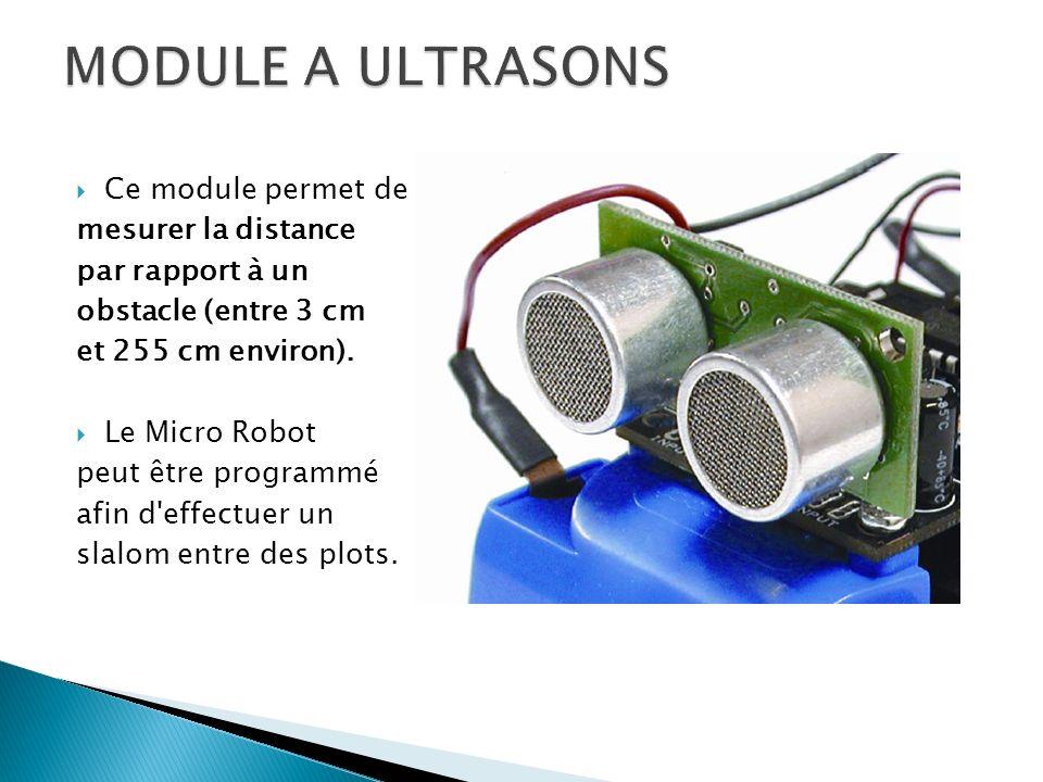 Ce module permet de mesurer la distance par rapport à un obstacle (entre 3 cm et 255 cm environ). Le Micro Robot peut être programmé afin d'effectuer