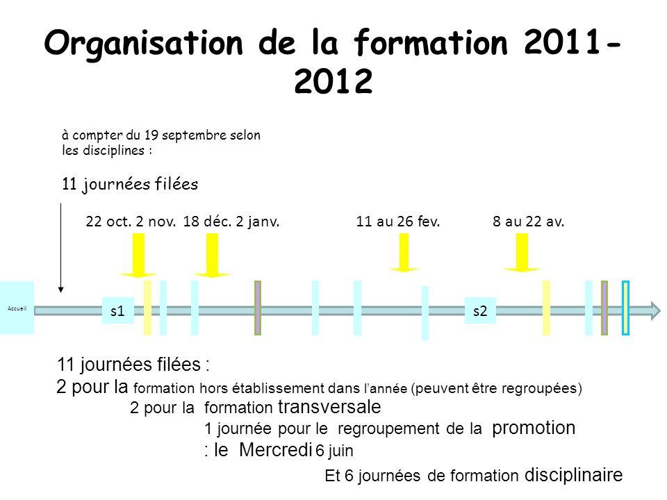 Organisation de la formation 2011- 2012 18 déc.2 janv.11 au 26 fev.8 au 22 av.