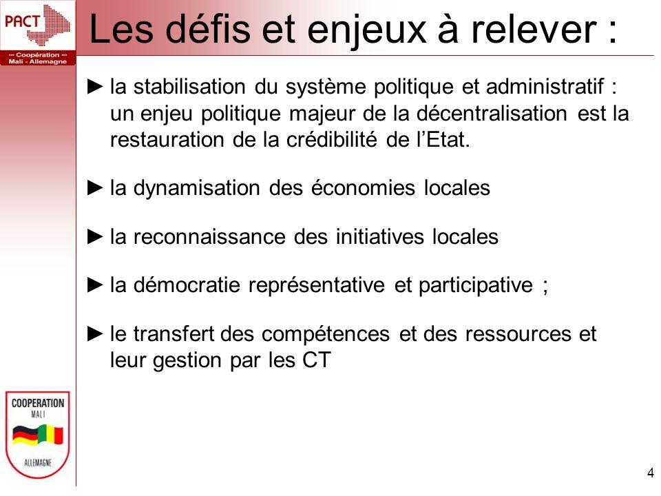 Les défis et enjeux à relever : 4 la stabilisation du système politique et administratif : un enjeu politique majeur de la décentralisation est la restauration de la crédibilité de lEtat.