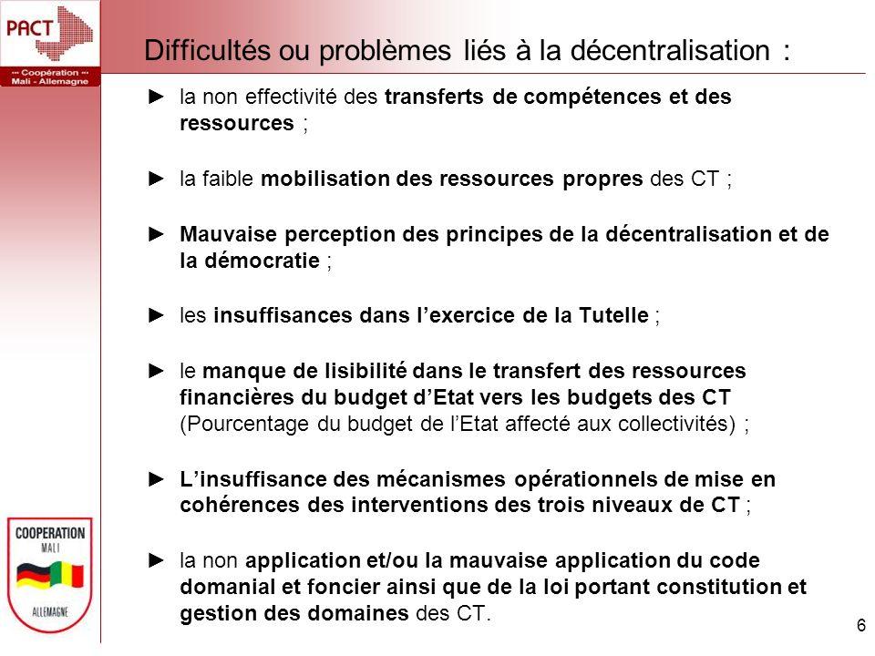 Difficultés ou problèmes liés à la décentralisation : 6 la non effectivité des transferts de compétences et des ressources ; la faible mobilisation des ressources propres des CT ; Mauvaise perception des principes de la décentralisation et de la démocratie ; les insuffisances dans lexercice de la Tutelle ; le manque de lisibilité dans le transfert des ressources financières du budget dEtat vers les budgets des CT (Pourcentage du budget de lEtat affecté aux collectivités) ; Linsuffisance des mécanismes opérationnels de mise en cohérences des interventions des trois niveaux de CT ; la non application et/ou la mauvaise application du code domanial et foncier ainsi que de la loi portant constitution et gestion des domaines des CT.