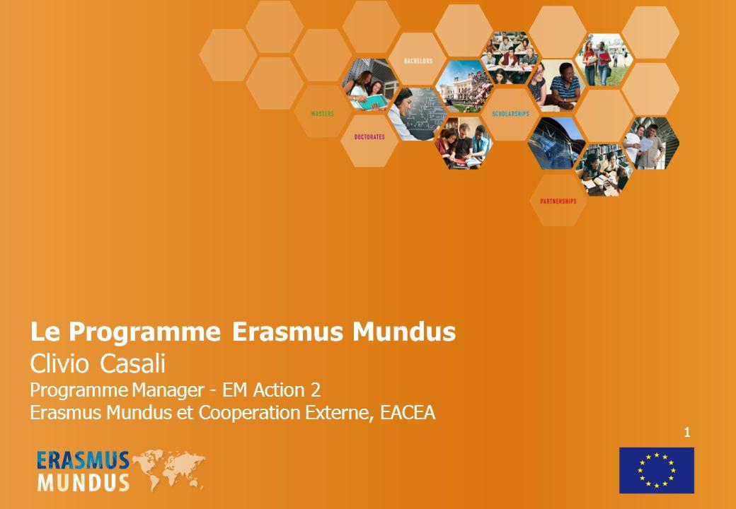 Le Programme Erasmus Mundus Clivio Casali Programme Manager - EM Action 2 Erasmus Mundus et Cooperation Externe, EACEA 1