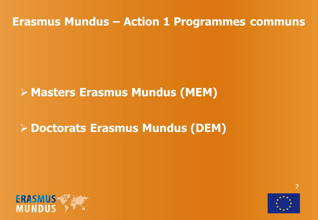 Erasmus Mundus – Action 3 Projets de promotion de lenseignement supérieur européen Activités dinformation et de diffusion des résultats du programme et des exemples de bonnes pratiques Etudes Erasmus Mundus Alumni Association Structures Nationales Erasmus Mundus 18