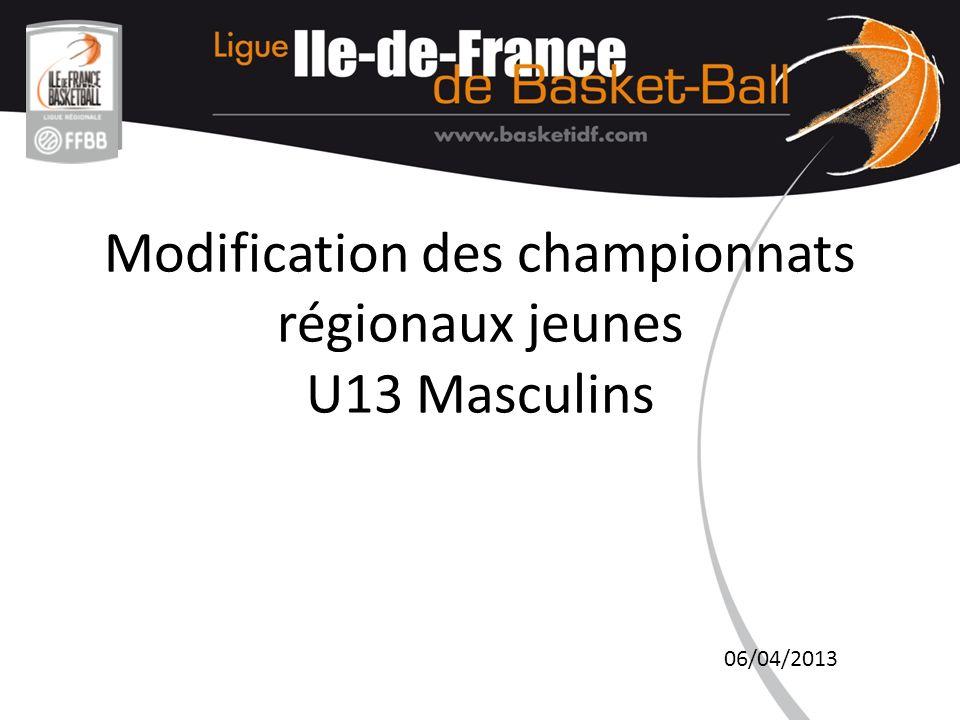 Modification des championnats régionaux jeunes U13 Masculins 06/04/2013