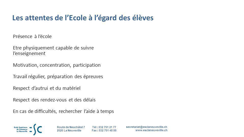 secretariat@esclaneuveville.ch www.esclaneuveville.ch Tél : 032 751 21 77 Fax : 032 751 48 88 Route de Neuchâtel 7 2520 La Neuveville Les attentes de