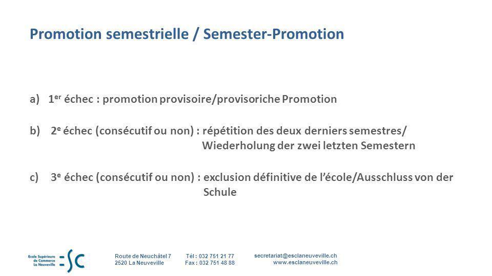 secretariat@esclaneuveville.ch www.esclaneuveville.ch Tél : 032 751 21 77 Fax : 032 751 48 88 Route de Neuchâtel 7 2520 La Neuveville 7 Promotion seme