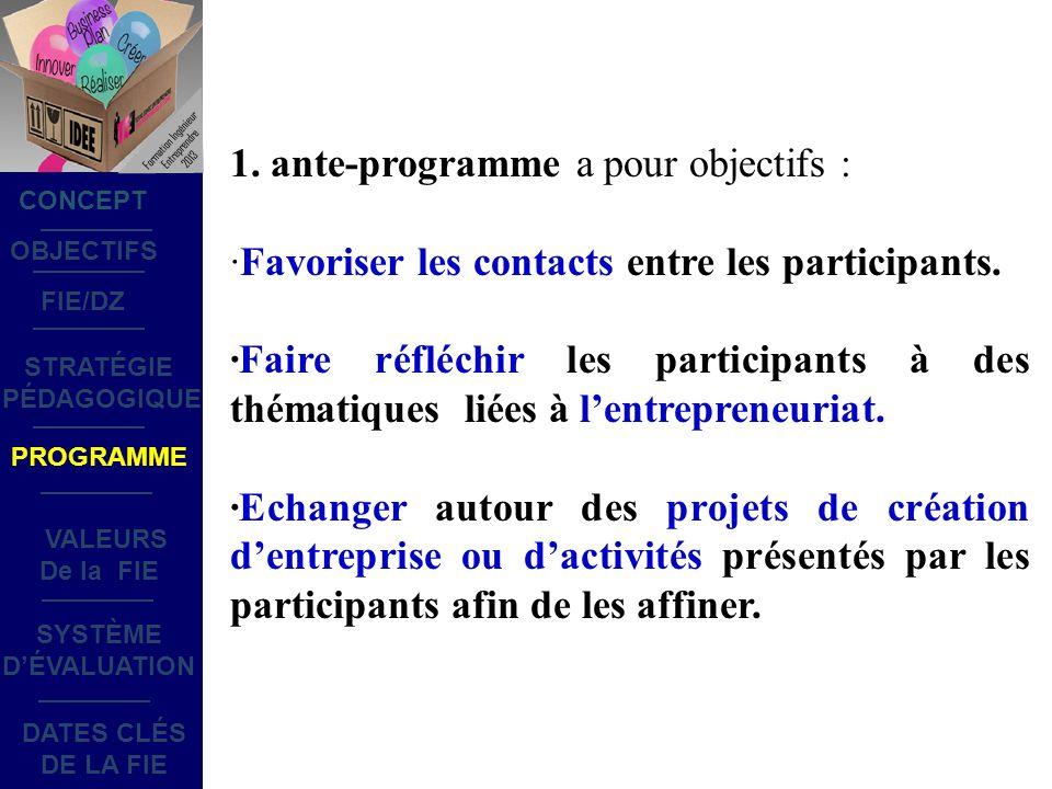 1. ante-programme a pour objectifs : ·Favoriser les contacts entre les participants.