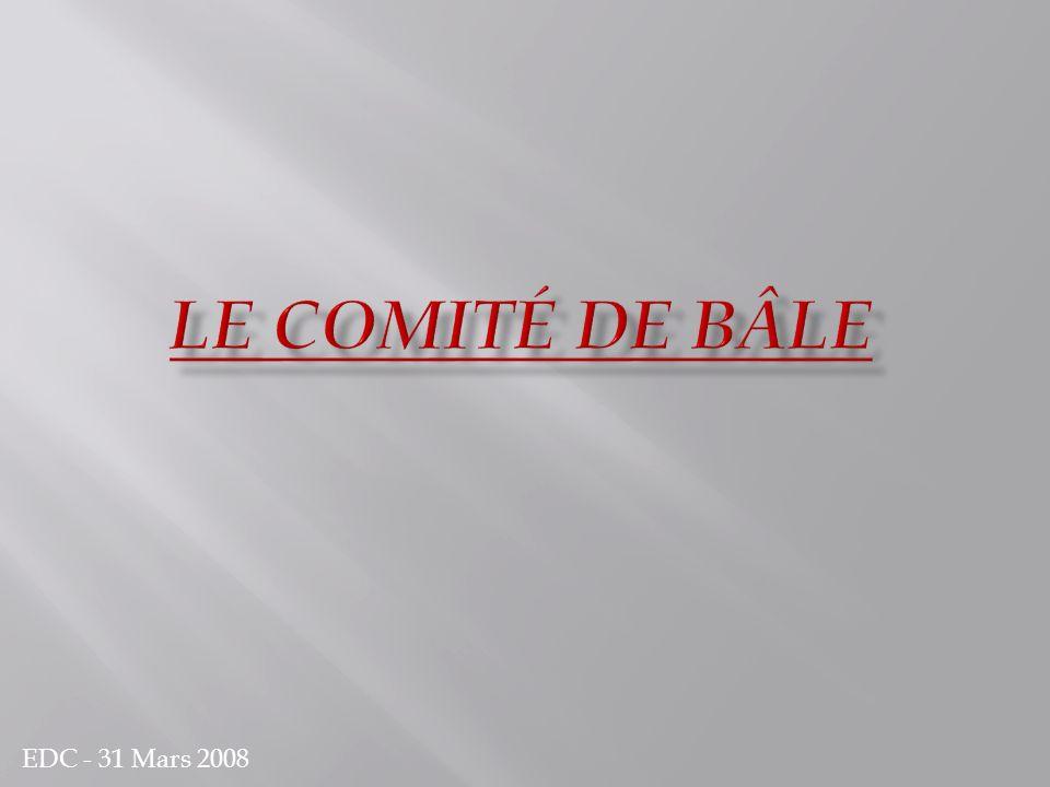 Le comité de Bâle Bâle I Bâle II Bâle III Création en 1974 par le Groupe des Dix (G10) Siège au sein de la Banque des Règlements Internationaux à Bâle, en Suisse Président actuel : Le gouverneur de la banque des Pays-Bas M.