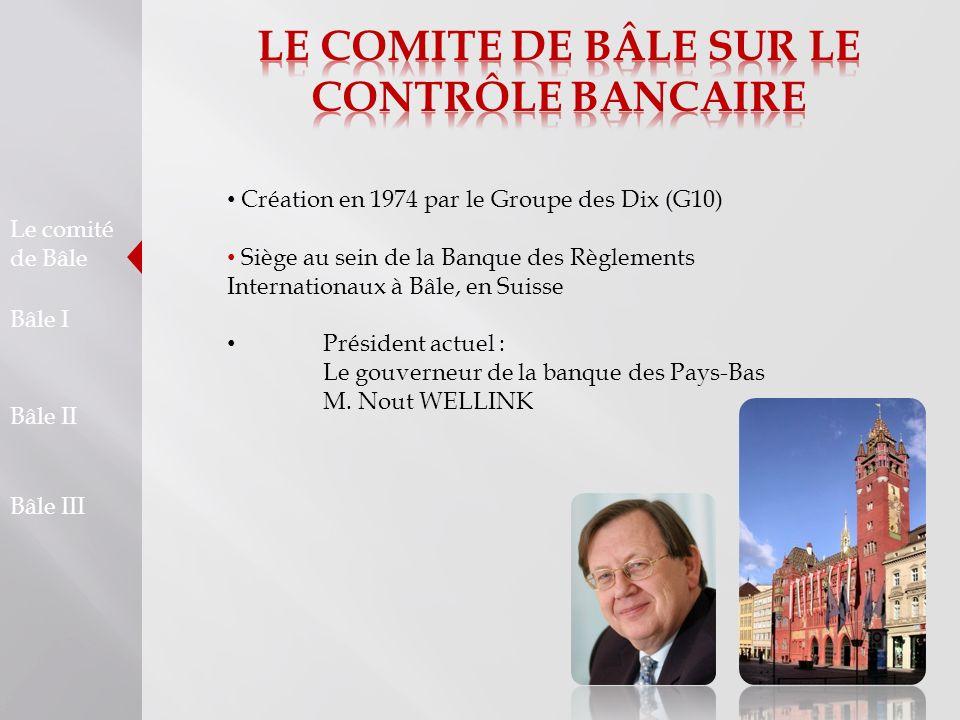 Le comité de Bâle Bâle I Bâle II Bâle III Création en 1974 par le Groupe des Dix (G10) Siège au sein de la Banque des Règlements Internationaux à Bâle