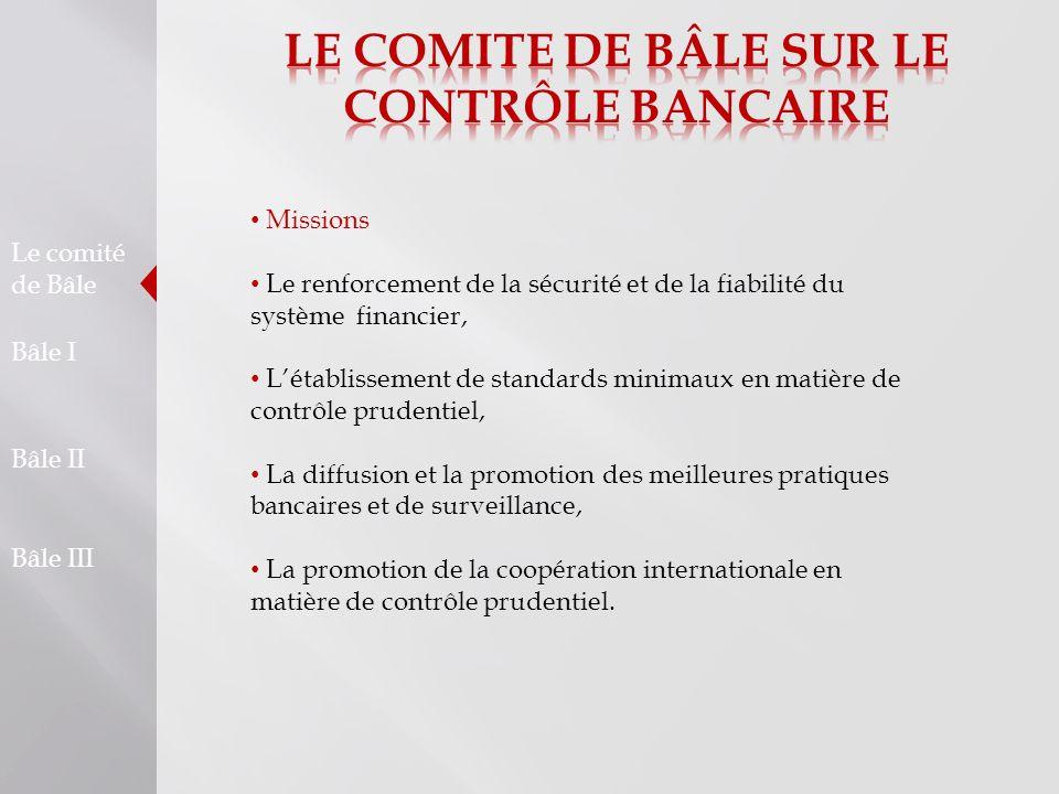 Le comité de Bâle Bâle I Bâle II Bâle III Missions Le renforcement de la sécurité et de la fiabilité du système financier, Létablissement de standards