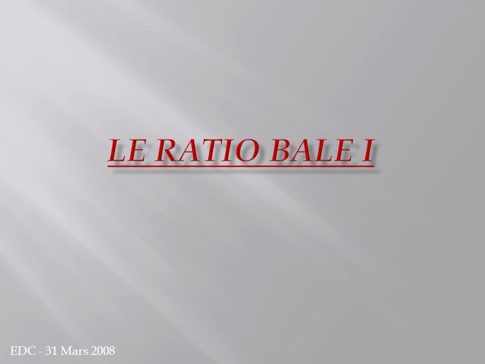 Le comité de Bâle Bâle I Bâle II Bâle III Ratio prudentiel = Ratio Cooke Fonds propres / En cours de prêts = 8% Fonds propres réglementés : Capital social ou assimilé Résultat non distribué de l exercice et réserves consolidées.