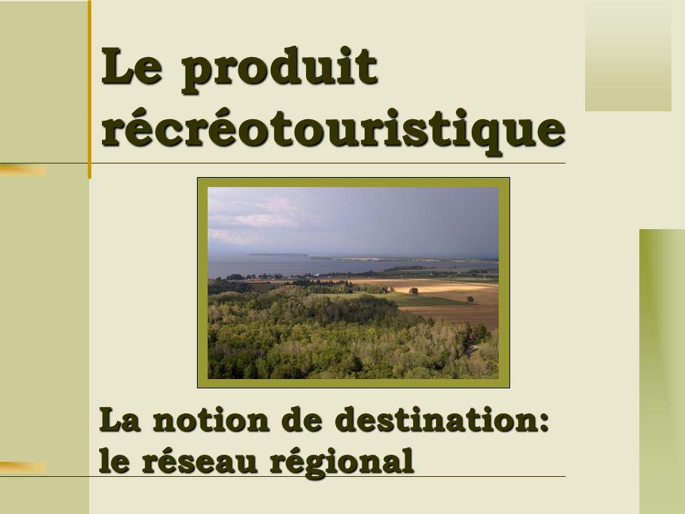 Le produit récréotouristique La notion de destination: le réseau régional