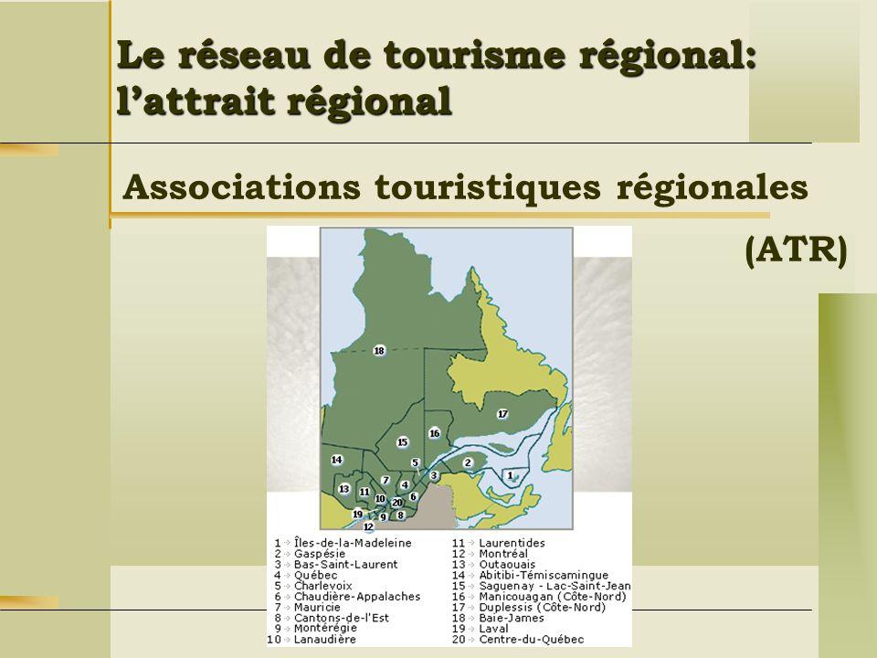 Associations touristiques régionales Le réseau de tourisme régional: lattrait régional (ATR)