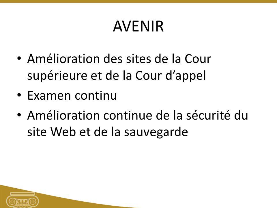 AVENIR Amélioration des sites de la Cour supérieure et de la Cour dappel Examen continu Amélioration continue de la sécurité du site Web et de la sauvegarde