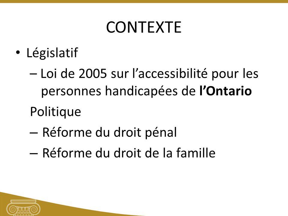 CONTEXTE Législatif – Loi de 2005 sur laccessibilité pour les personnes handicapées de lOntario Politique – Réforme du droit pénal – Réforme du droit de la famille