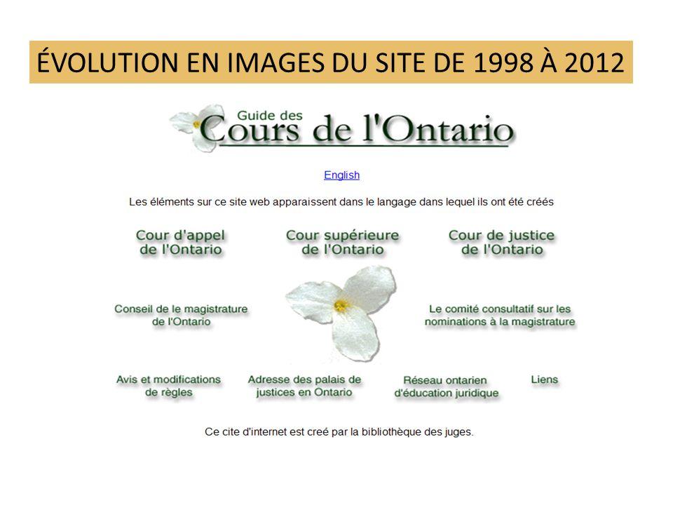 ÉVOLUTION EN IMAGES DU SITE DE 1998 À 2012
