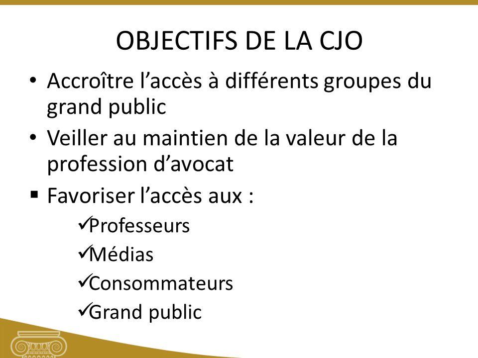 OBJECTIFS DE LA CJO Accroître laccès à différents groupes du grand public Veiller au maintien de la valeur de la profession davocat Favoriser laccès aux : Professeurs Médias Consommateurs Grand public