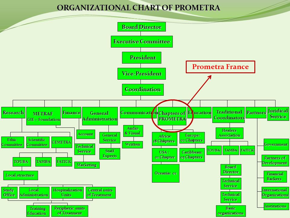 ORGANIZATIONAL CHART OF PROMETRA Board Director Executive Committee President President Vice-President Vice-President Coordination Research METRAF GIE + Foundation Finance General GeneralAdministration Chapters of Chapters of PROMETRA PROMETRA Education Traditional Coordinators Coordinators Partners PartnersJuridical Service Service Ethic Committee CommitteeScientific CEMETRA CEMETRA TOUBA TOUBA TAMBA TAMBA FATICK FATICK Study Office Office Local Administration AdministrationHospitalizationUnits TrainingEducation Peripheric units of Treatment Central units of Treatment Local structure Local structure TechnicalService Account Account Marketing Marketing Communication GeneralService StaffExperts Audio Audio & Visual Written Written Africa: Africa: 18 Chapters Europe: Europe: 02 Chapters 02 Chapters USA : 01 Chapter 01 Chapter Caribbean: Caribbean: 05 Chapters Oceania: 01 HealersAssociation TOUBA TOUBA TAMBA TAMBA FATICK FATICK Government Government Partners of Development Development FinancialBackers International InternationalOrganizations Institutions Institutions BoardDirector TechnicalService Basicorganizations TechnicalService Prometra France