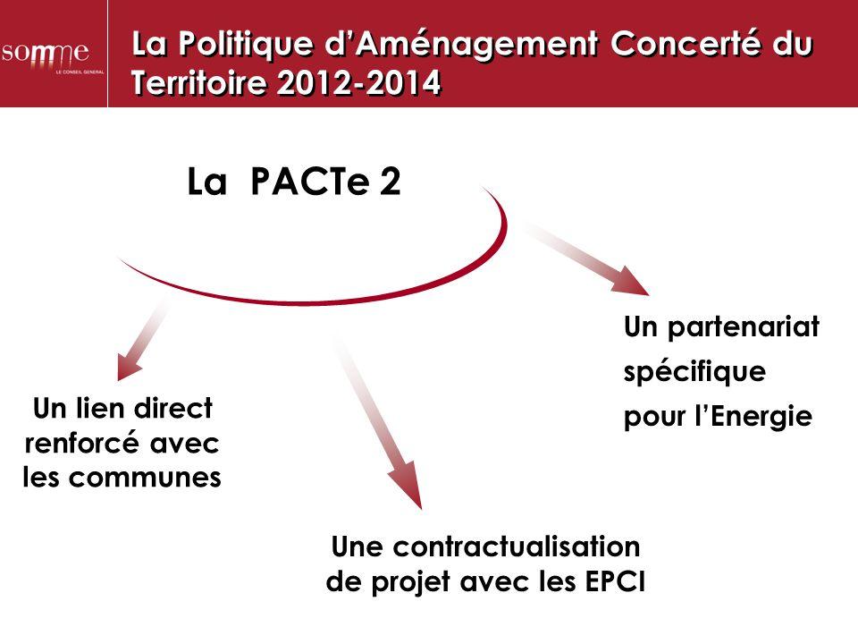 La PACTe 2 Un lien direct renforcé avec les communes Une contractualisation de projet avec les EPCI Un partenariat spécifique pour lEnergie La Politique dAménagement Concerté du Territoire 2012-2014