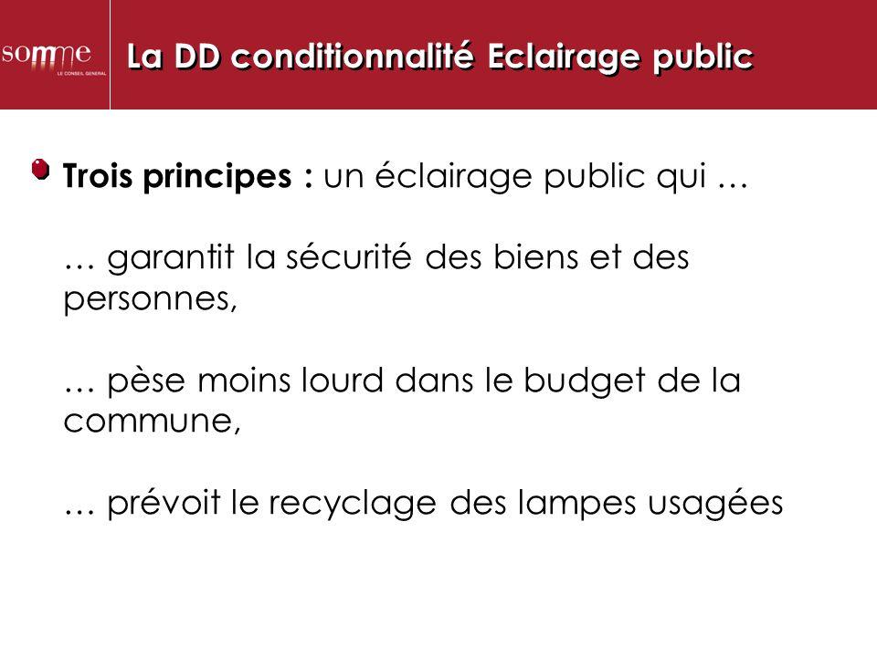 La DD conditionnalité Eclairage public.