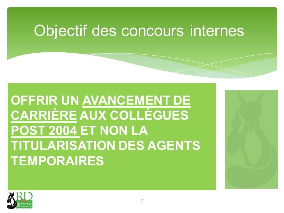 OFFRIR UN AVANCEMENT DE CARRIÈRE AUX COLLÈGUES POST 2004 ET NON LA TITULARISATION DES AGENTS TEMPORAIRES Objectif des concours internes 7