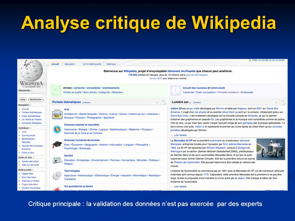 Analyse critique de Wikipedia Critique principale : la validation des données nest pas exercée par des experts