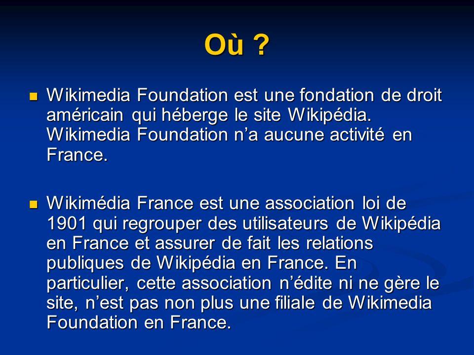 Où .Wikimedia Foundation est une fondation de droit américain qui héberge le site Wikipédia.