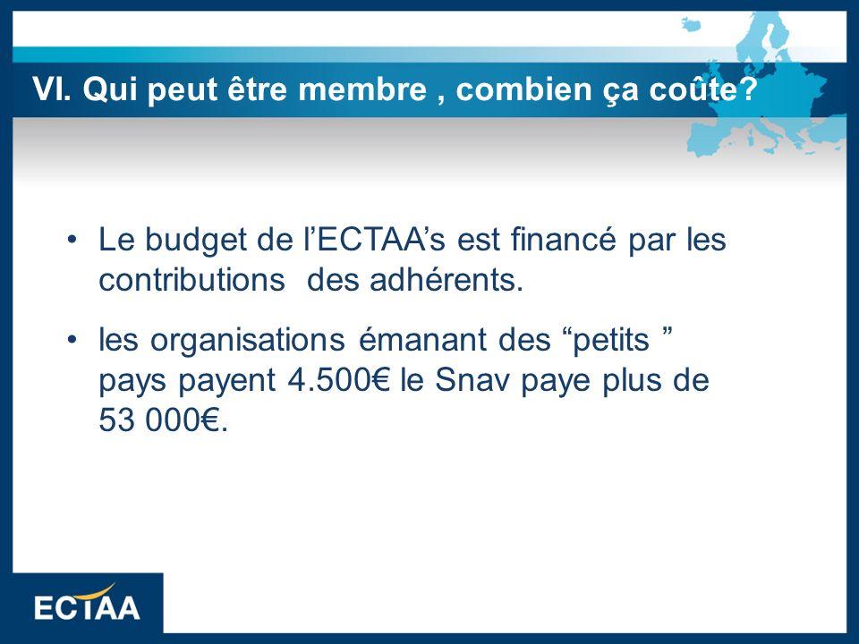 Le budget de lECTAAs est financé par les contributions des adhérents. les organisations émanant des petits pays payent 4.500 le Snav paye plus de 53 0