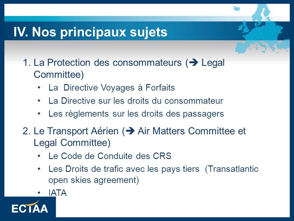 3.Environment – Durabilité- Santé & Sécurité ( Tour Operators Committee) ( Destination & Sustainability Committee) 4.Fiscalité ( Fiscal Committee) Directives TVA Impact de la fiscalité sur les entreprises européennes IV.