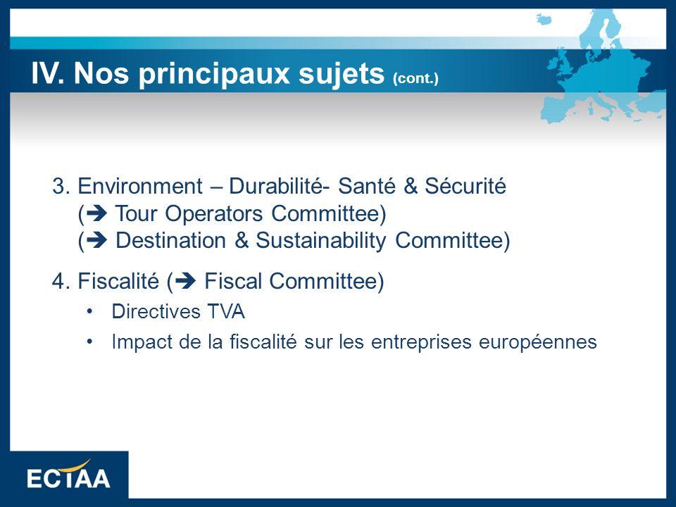 3.Environment – Durabilité- Santé & Sécurité ( Tour Operators Committee) ( Destination & Sustainability Committee) 4.Fiscalité ( Fiscal Committee) Dir
