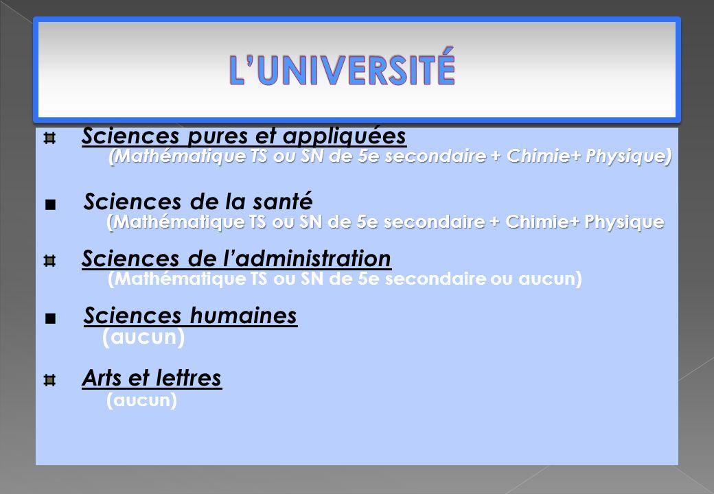 Sciences pures et appliquées (Mathématique TS ou SN de 5e secondaire + Chimie+ Physique) Sciences de la santé (Mathématique TS ou SN de 5e secondaire