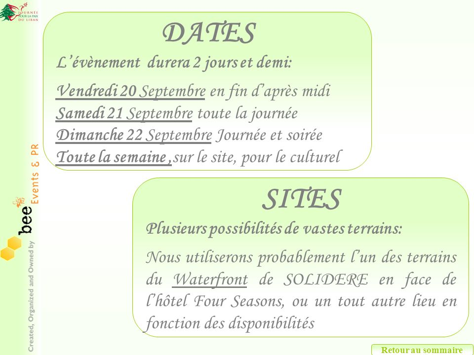 Retour au sommaire DATES Lévènement durera 2 jours et demi: Vendredi 20 Septembre en fin daprès midi Samedi 21 Septembre toute la journée Dimanche 22