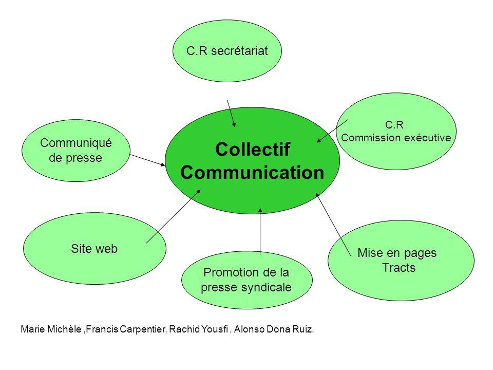Collectif Communication Site web Communiqué de presse Promotion de la presse syndicale C.R secrétariat C.R Commission exécutive Marie Michèle,Francis