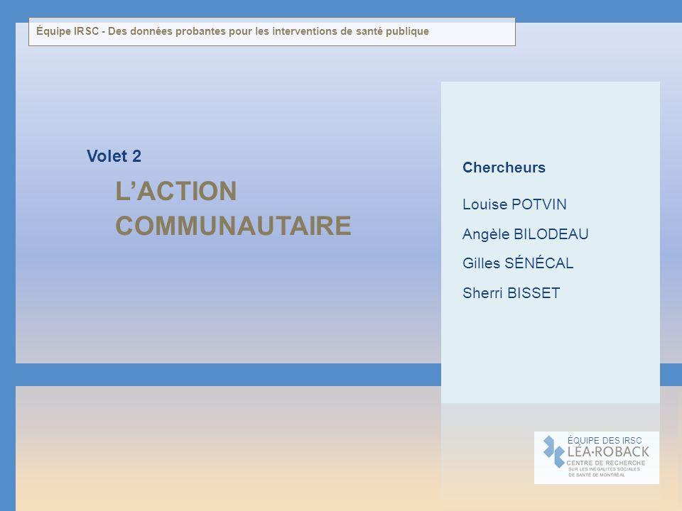 LACTION COMMUNAUTAIRE Volet 2 ÉQUIPE DES IRSC Chercheurs Louise POTVIN Angèle BILODEAU Gilles SÉNÉCAL Sherri BISSET