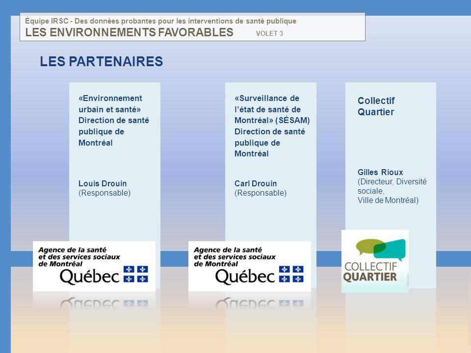 LES PARTENAIRES «Environnement urbain et santé» Direction de santé publique de Montréal Louis Drouin (Responsable) LES ENVIRONNEMENTS FAVORABLES Colle