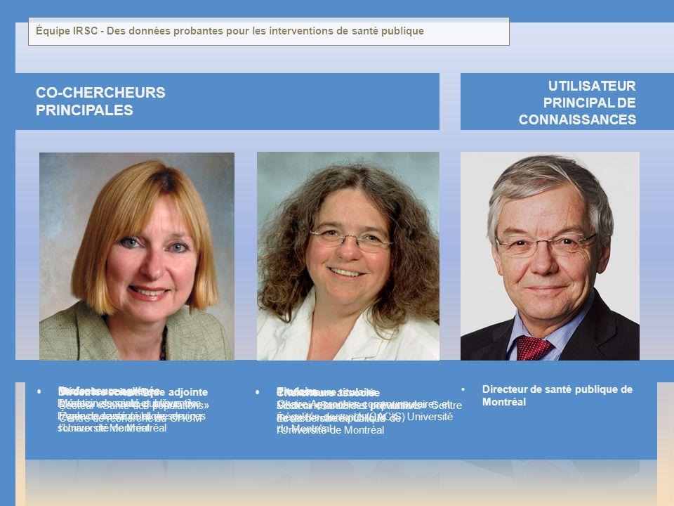 CO-CHERCHEURS PRINCIPALES UTILISATEUR PRINCIPAL DE CONNAISSANCES Directeur de santé publique de Montréal Médecine sociale et préventive École de santé
