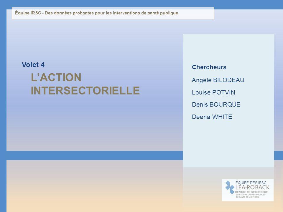 LACTION INTERSECTORIELLE Volet 4 ÉQUIPE DES IRSC Chercheurs Angèle BILODEAU Louise POTVIN Denis BOURQUE Deena WHITE