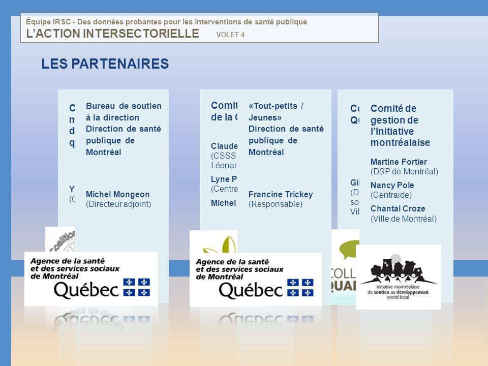 LES PARTENAIRES Coalition montréalaise des tables de quartier Yves Bellavance (Coordonnateur) Comité aviseur de la CACIS Claude Doyon (CSSS St- Léonar