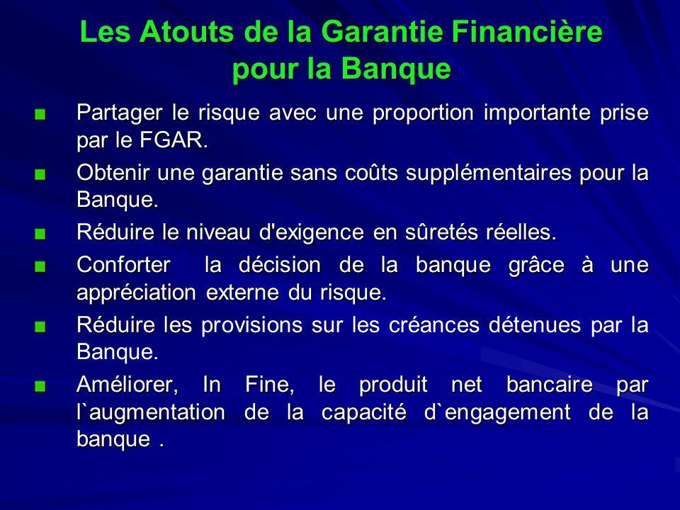 Atouts de la Garantie Financière pour la Banque Les Atouts de la Garantie Financière pour la Banque Partager le risque avec une proportion importante