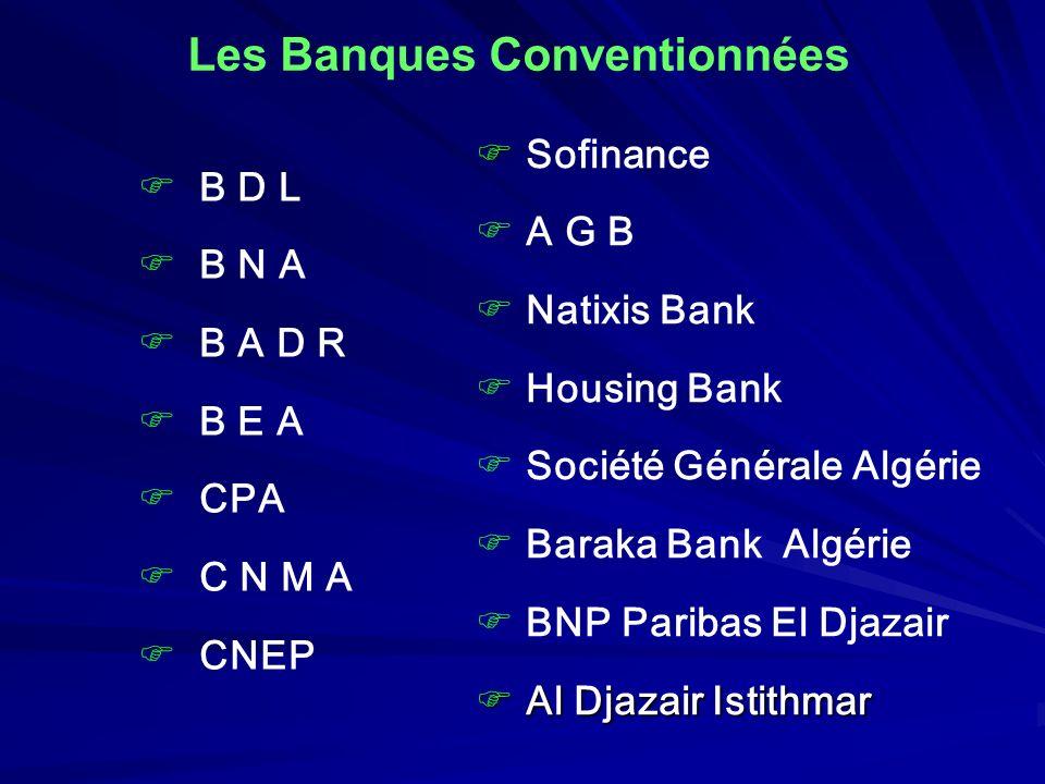 Les Banques Conventionnées B D L B N A B A D R B E A CPA C N M A CNEP Sofinance A G B Natixis Bank Housing Bank Société Générale Algérie Baraka Bank A