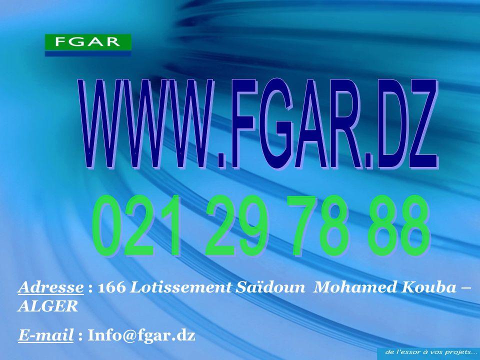 Adresse : 166 Lotissement Saïdoun Mohamed Kouba – ALGER E-mail : Info@fgar.dz