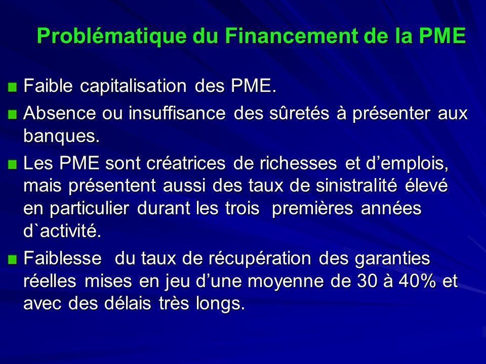 Problématique du Financement de la PME Faible capitalisation des PME. Absence ou insuffisance des sûretés à présenter aux banques. Les PME sont créatr