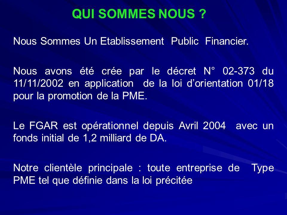 QUI SOMMES NOUS ? Nous Sommes Un Etablissement Public Financier. Nous avons été crée par le décret N° 02-373 du 11/11/2002 en application de la loi do