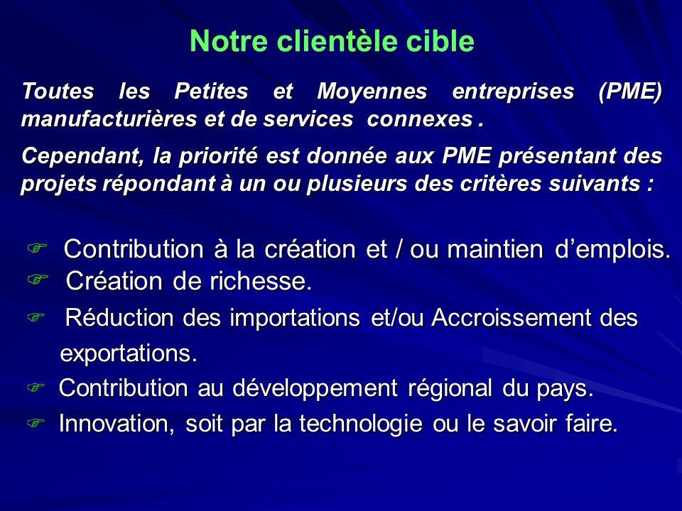 Notre clientèle cible Toutes les Petites et Moyennes entreprises (PME) manufacturières et de services connexes. Cependant, la priorité est donnée aux