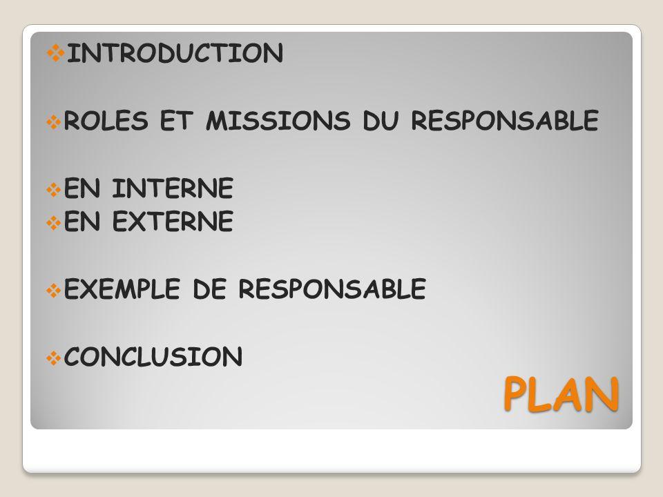 PLAN PLAN INTRODUCTION ROLES ET MISSIONS DU RESPONSABLE EN INTERNE EN EXTERNE EXEMPLE DE RESPONSABLE CONCLUSION