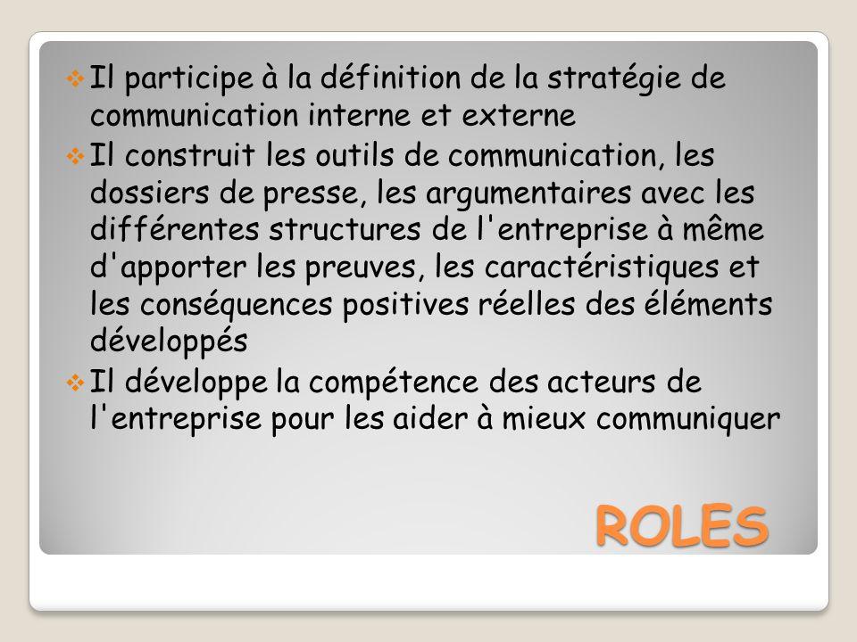 ROLES ROLES Il participe à la définition de la stratégie de communication interne et externe Il construit les outils de communication, les dossiers de