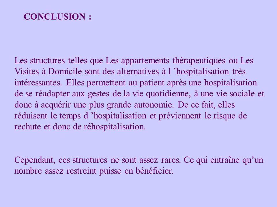 Les structures telles que Les appartements thérapeutiques ou Les Visites à Domicile sont des alternatives à l hospitalisation très intéressantes. Elle